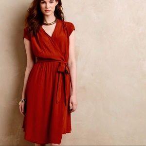 Maeve Noronha Wrap Dress Rust